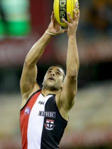 Ahmed Saad takes a mark during his playing days with St Kilda. Picture: Darren England.
