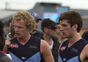 Fox (right) looks on following Aberfeldie's 2013 Grand Final loss.